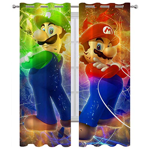 SSKJTC Bay Window Curtains Super Mario Bros Cool Colors Blackout Curtains for Boys Girls W63 x L45 Inch