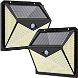 350 LED Solar Security Lights Outdoor,Hepside Solar Motion Sensor Lights with 3 Lighting Modes,Waterproof Wireless Solar Wall Lights Outside for Front Door Garden Fence Yard Garage Pathway(2 Pack)