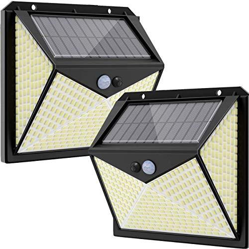 Luz Solar Exterior 350 LED, Hepside Focos LED Exterior Solares【3 Modes/2 Pack】270° lluminación Foco Solar Exterior con Sensor de Movimiento, Impermeable Luces Solares Led Exterior Jardin Camino Garaje