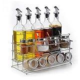 Tarros de especias de vidrio de cocina, frasco de condimento, sal y pimienta, caja de almacenamiento de botellas de condimento, juego de hogar de viento rural (34,5 x 16,5 x 19,5 cm) multiusos