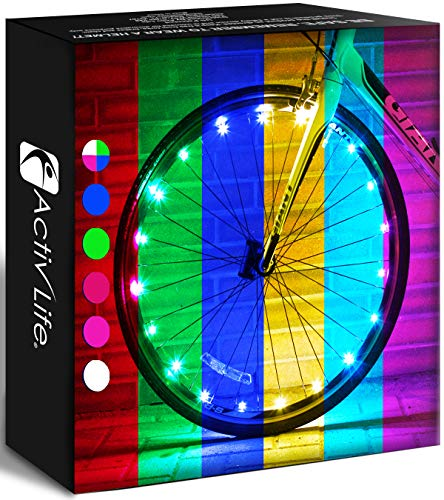 Activ Life Bicycle Spoke Lights (1 Tire, Color-Changing) Fun Accessories for Cool Beach Cruisers, Top Mountain, BMX Trick, Road, Recumbent, Commuting, Tandem, Best Kids & Folding Bike Wheel Lights