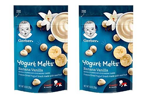 Gerber Yogurt Melts, Banana Vanilla, Freeze-Dried Yogurt Snack Made with Real Fruit, 1 OZ (Pack of 2)