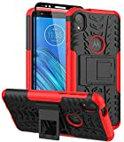 ComoUSA Designed for Moto E6 Case with Tempered Full Glass Screen Protector Shockproof Slim Protective with Hybrid Kickstand Cover for Motorola Moto E6 Phone (Red)