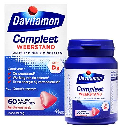 Davitamon Compleet Weerstand Kauwvitamines met vitamine D en C - Multivitamine - Aardbei - 60 kauwtabletten