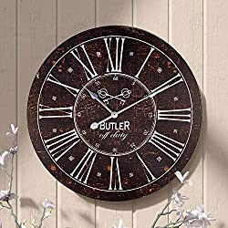 Retro Wall Clock, 24 Inch Large Wooden Decorative Clock with Roman Numerals, Indoor Silent Non-Ticking Battery Operated Home Clock for Living Room, Bedroom, Kitchen, Dining Room, Easy to Read (Black)