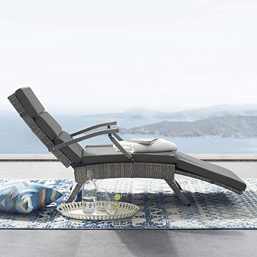 Modway Envisage Outdoor Patio Wicker Rattan Chaise Lounge in Light Gray Charcoal