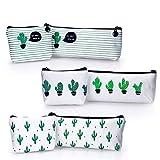 YOUSHARES 6 PZ Confezione Astuccio Cactus, Sacchetto Borsa Della Matita Tela per Matite e Penna o Piccolo Trucco