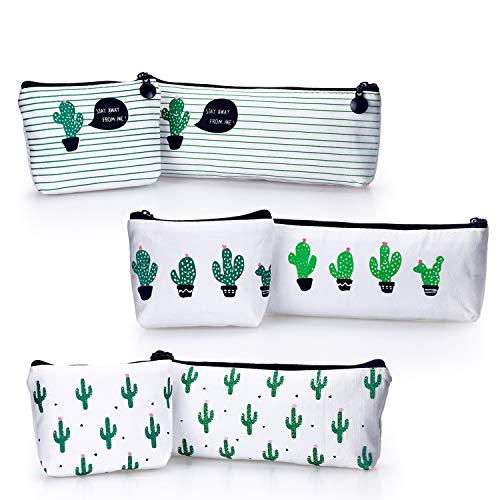 YOUSHARES 6 PCS Kaktus Mäppchen, Segeltuchbleistiftbeutel für Bleistifte und Stifte oder kleine Make-up