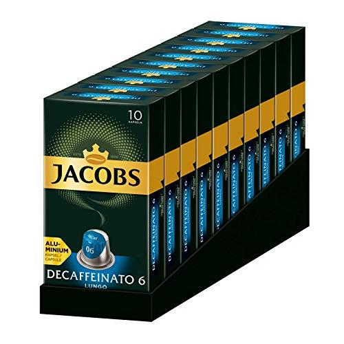 Jacobs Espresso Kaffeekapseln Lungo Decaffeinato- Intensität 6- 100 Nespresso®* kompatible Kapseln, 10er Pack (10 x 52 g)