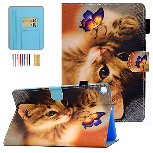 Galaxy Tab A 10.1 2019 Case, T510 Case, APOLL Anti-Scratch Premium PU Leather Multi-Angle Viewing Folio Stand Slim Case for Samsung Galaxy Tab A 10.1 inch Tablet 2019 SM-T510/T515, Butterfly Cat