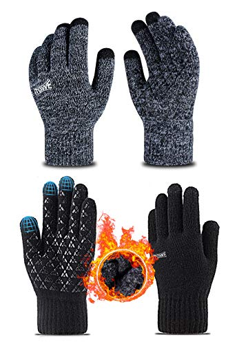 ITOWE 2 Pairs Womens Mens Gloves Winter Touch Screen Gloves Driving Running Cycling Texting Knit Wool Anti-Slip Silicone Gel Elastic Cuff Warm 3 Size Choice Gloves for ladies Men Women Cold Weather