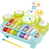 KingsDragon Electronic Piano Keyboard Xylophone Drum Set, 3 in1 Musical Instruments Toys with Lights, Infant Early Educational Learning Toys for Baby & Toddler 1 2 3 Year Old Boys and Girls