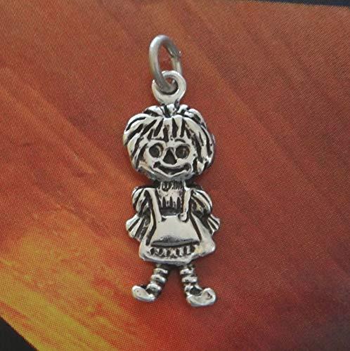 Charm Pendant - Jewelry Making DIY - Bracelet Sterling Silver 20x7mm Small Raggedy Ann Rag Doll Charm Flat Double Sided