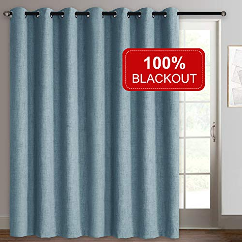 Rose Home Fashion Sliding Door Curtains, Primitive Linen Look 100% Blackout Curtains, Thermal Insulated Patio Door Curtains-1 Panel (100x108 Blue)