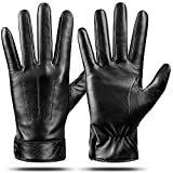 Winter Genuine Sheepskin Leather Gloves For Men, Warm Touchscreen Texting Cashmere Lined Driving Motorcycle Gloves by Dsane (Black, L)