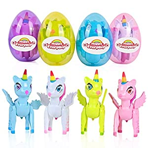 """🦄Easter Basket Stuffers: Let our Easter be full of surprises. Easter baskets for kids includes four different color eggs, each with unique unicorn toys, which is about 3.3"""" tall X 2.6"""" wide, children will love to find surprises inside Easter eggs. 🦄H..."""