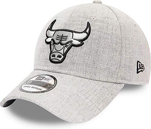 New Era Chicago Bulls Heather Essential Cap 39thirty Grey Black Curved Visor S M...