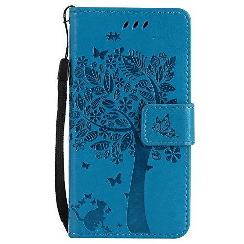 Karomenic kompatibel mit Samsung Galaxy A3 2017 PU Leder Hülle Katze Baum Prägung Handyhülle Brieftasche Silikon Schutzhülle Klapphülle Ledertasche Ständer Wallet Flip Case Schale Etui,Blau
