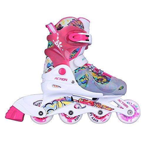 Seven Sport Inlineskates Doli Pink mit LED Leuchtrollen Kinderinliner Gr. 26-29, 30-33 verstellbar (26-29 verstellbar)