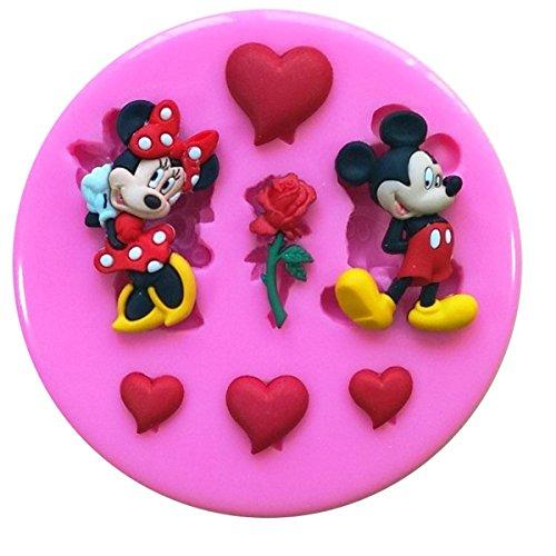 """Fairie Blessings Silikonform """"Mickey Mouse liebt Minnie Mouse"""" für Kuchendekoration, Herzen- und Rosenformen, zum Garnieren, Dekorationen aus Zuckerguss, Kuchentopper, Utensil für Zuckerbasteleien"""