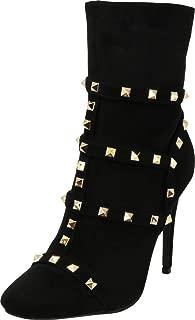 Cambridge Select Women's Pyramid Studded Caged Cutout Mid-Calf Stiletto High Heel Bootie