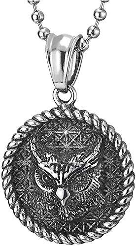 huangxuanchen co.,ltd Collar con Colgante de Medalla Circular de búho de Acero Inoxidable Vintage para Hombre con Corona y patrón a Cuadros