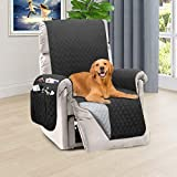 Honest Reversible Recliner Slipcover, Water Resistant Recliner Chair Cover with Side Pockets,Washable Recliner Protector Cover with Elastic Straps for Pets Kids Children Dog(23In,Dark Grey&Grey)
