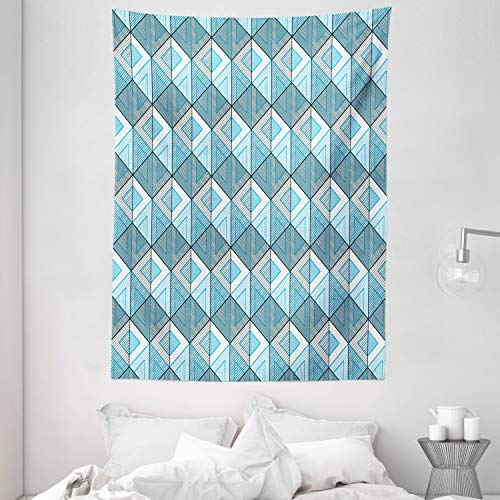 Lunarable Abstract Tapestry, Rhythmic Digitally Generated Geometric Cubes Lines Pattern, Wall Hanging for Bedroom Living Room Dorm Decor, 60' X 80', Sky Blue Grey