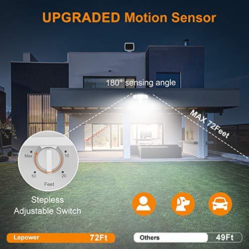 LEPOWER 1600LM LED Solar Security Lights Motion Outdoor, Super Bright Solar Motion Sensor Light, 5500K White Light, IP65 Waterproof Outdoor Flood Solar Lights with 3 Adjustable Head for Yard, Garage