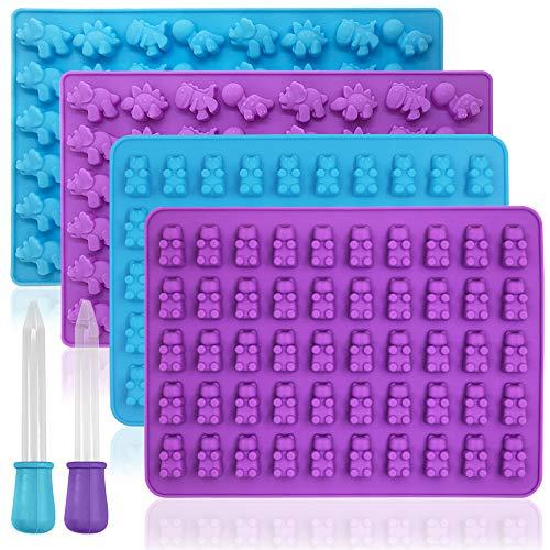 YuCool - Juego de 4 moldes de silicona antiadherentes de grado alimenticio de silicona para caramelos, chocolate, cubitos de hielo con 2 cuentagotas adicionales, color morado, azul