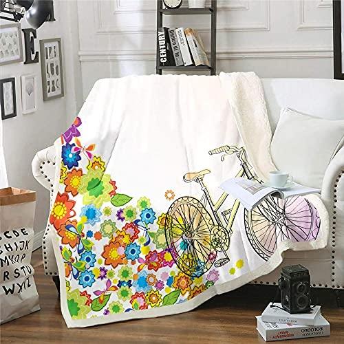 Mantas para Sofa Decorativas Flor Bicicleta Manta de Franela Extra Suave, Manta de Viaje Polar Multiuso para Cama Infantil - 100x130 cm