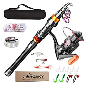 FISHOAKY Fishing Rod kit, Carbon Fiber Reel Combo Pole and Telescopic Fishing with Line Lures Tackle Hooks Reel Carrier Bag for Adults Saltwater Freshwater Travel (2.1)