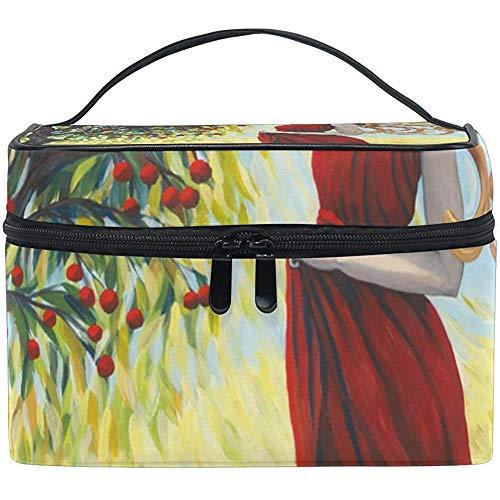 Bénédiction de la récolte Art arbre rouge fille impression sac cosmétique voyage maquillage train cas stockage organisateur