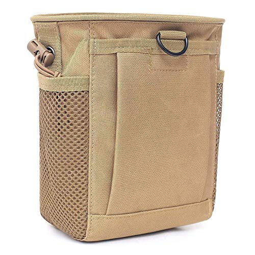 Tactical Molle Drawstring Magazine Dump Pouch, Adjustable Military Utility Belt Fanny Hip Holster Bag Outdoor Ammo Pouch (Tan)