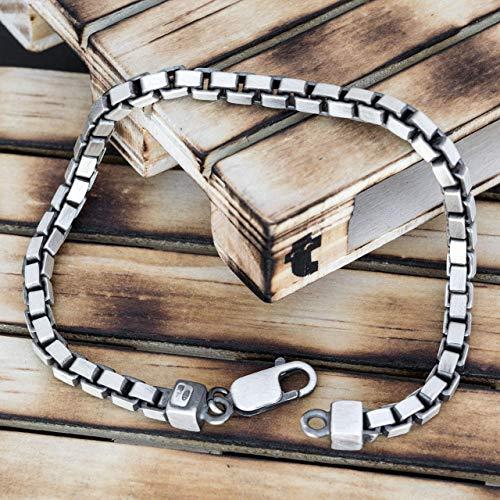 925 pulsera de plata esterlina para hombres regalo para hombres pulsera hombres joyería rústica pulsera de serpiente pulsera de cadena joyería de serpiente novio roca