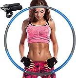 ZALALAS Hula Hoop para adultos, pierde peso rápido por una forma divertida de entrenar, fácil de girar, de calidad premium y suave aro de hula acolchado, con cuerda de saltar (azul)