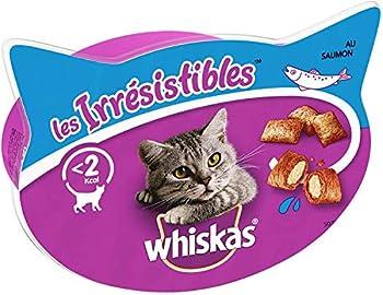 Whiskas Les Irrésistibles - Friandises au Saumon pour Chat, 8 Boîtes de 60 G de Récompenses