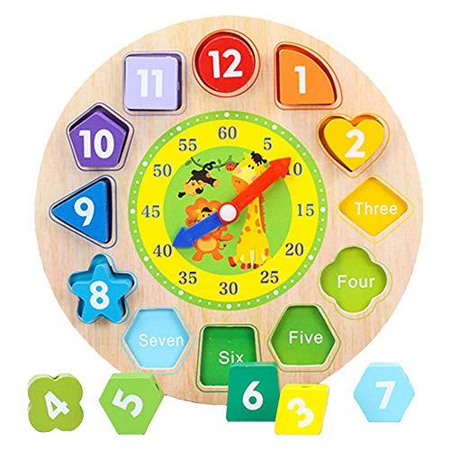 Sxfcool Educational Uhr, Wulstige Puzzle Cognitive Building Blocks, Digital und Form Klassifizierung Rätsel zu unterscheiden Die Zeit der Holzlehr Uhr Lernspielzeug