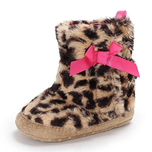 KONFA Toddler Baby Boys Girls Leopard Print Soft Home Slippers Boots,for 0-18 Months,Indoor Household Keep Warm Premium Shoes (Multicolor, 12-18 Months)