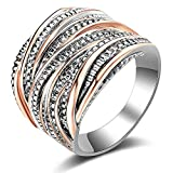 Mytys 2 Tone Wedding Band Rings Intertwined Crossover Statement Rings for Women Girl Rose Gold and Silver Plated Size 7