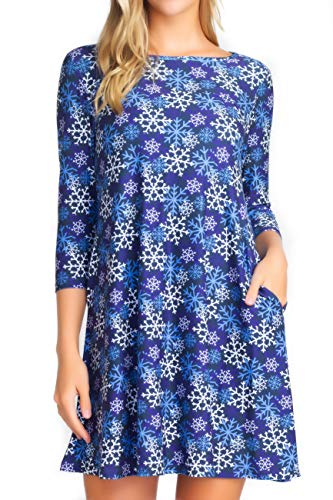 Plus Size Christmas Dresses with Pockets for Women 3/4 Sleeves Swing Holiday Party Dress Up Color Snowflake Pattern, Size 3XLarge