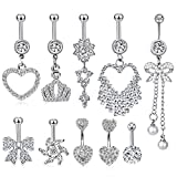 HBselect Piercing Ombelico Donna Accessori Donna Piercing Ombelico Acciaio Chirurgico Set Gioielli Donna