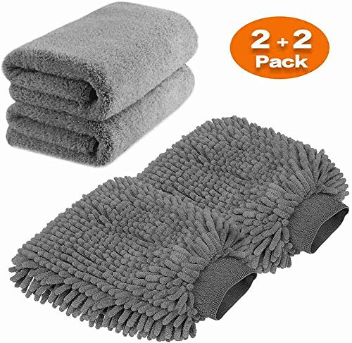 TAGVO Large Size Microfiber Car Wash Mitt - Premium Chenille Wash Gove and Microfiber Towel - Lint Free - Scratch Free (2x cloth + 2x mitt)