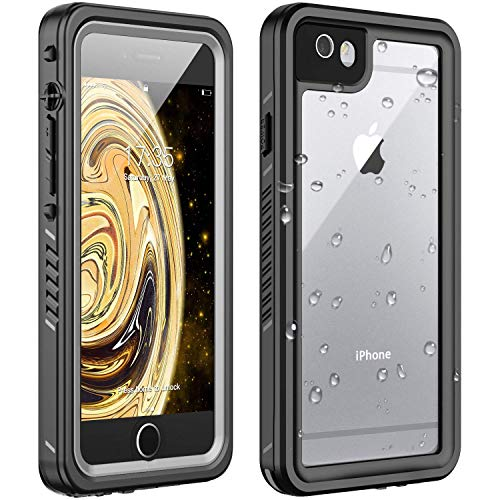 Huakay iPhone 6 Waterproof Case iPhone 6s Waterproof Case IP68 Certified Shockproof Dirtproof 360° Full Body Protection Waterproof for iPhone 6/6s (Black/Clear)(4.7inch)