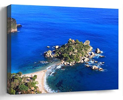 Amymami Wall Art Print Canvas Framed Artwork Home Decor(20x16 in)- Sicily Italy Island Ocean Sea Beach Seascape Sky