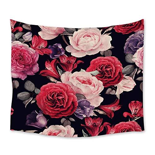 AdoDecor Colgante de Pared Flores de Rosa Mandala Tapiz Viajar Camping Rojo Rosa Púrpura Patrón Floral Tapiz Almohadilla de Yoga Tapiz para Dormir 150x200cm