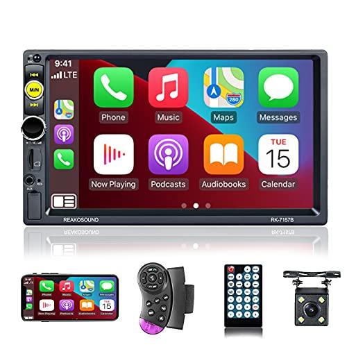 NHOPEEW Apple Carplay Stereo Autoradio 2 din, Bluetooth per Auto con porta TF / USB / AUX, collegamento a specchio, comandi del volante, microfono esterno + fotocamera di backup