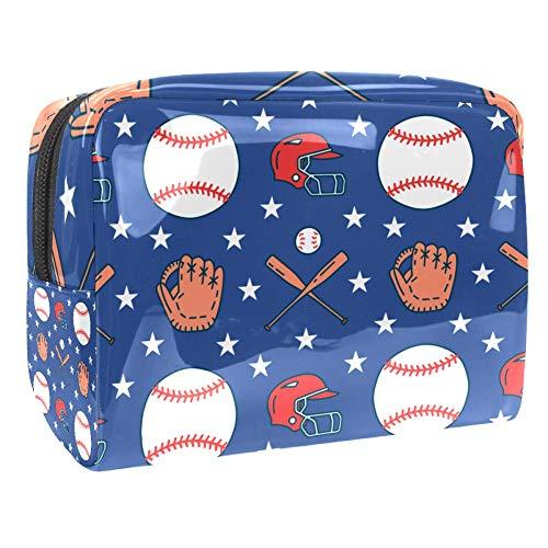 Bolsa de Maquillaje para niños Guantes de béisbol, Gorras de béisbol Accesorio de Viaje Neceser Pequeño Bolsas de Aseo Impermeable Cosmético Organizadores de Viaje 18.5x7.5x13cm