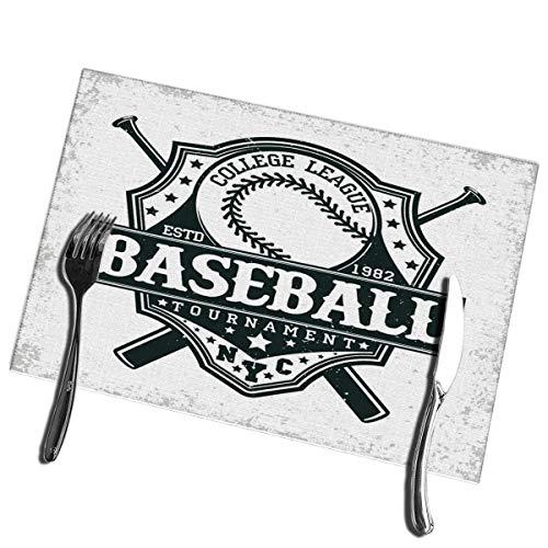 Winter-South Tischsets für Esstisch 6er-Set Vintage Grange Stamp Baseball Emblem Sport Logo Kreativ Waschbar Leicht zu reinig Tischset
