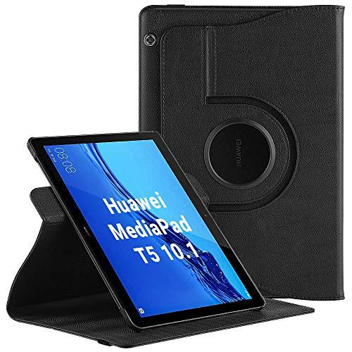 EasyAcc Custodia per Huawei MediaPad T5 10 - Girevole 360 Gradi di Rotazione Standing Cover Protettiva Case, Nero